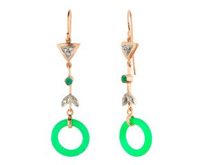 Handcrafted Italian Jadeite, Diamond & Emerald Drop Earrings
