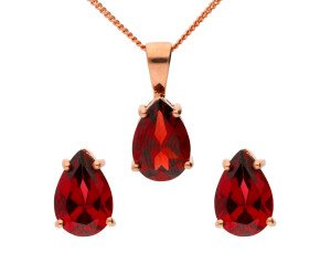 9ct Rose Gold Pear Garnet Solitaire Pendant & Earrings Set
