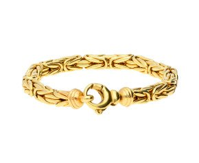 Pre-owned Men's Fancy 6.8mm Byzantine Tube Chain Bracelet