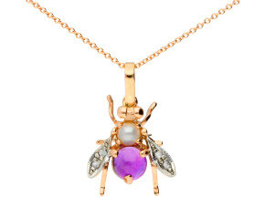Handcrafted Italian Amethyst, Pearl & 0.05ct Diamond Bee Pendant