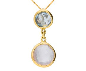 9ct Yellow Gold Rose Quartz & Topaz Fancy Pendant
