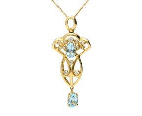 Vcitorian Inspired 9ct Yellow Gold 0.75ct Aquamarine & Diamond Fancy Pendant