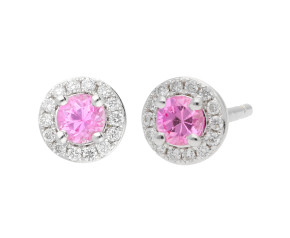 18ct White Gold 0.30ct Pink Sapphire & Diamond Earrings