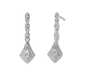 9ct White Gold Diamond Drop Earrings