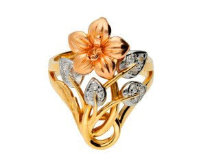 Pre-owned Cubic Zirconia Fancy Flower Ring