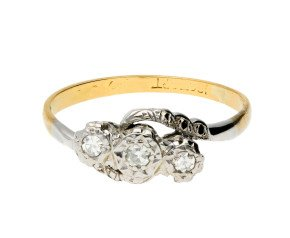 Vintage 18ct Yellow Gold Diamond Three-stone Ring