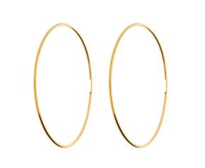 9ct Yellow Gold 60mm Fine Sleeper Hoop Earrings
