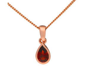 9ct Rose Gold Pear Shaped 0.50ct Garnet Solitaire Pendant