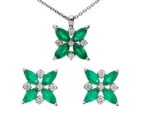 18ct White Gold 1.15ct Emerald & 0.20ct Diamond Flower Earrings & Pendant Jewellery Set