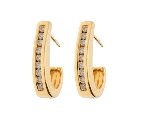 Pre-owned 9ct Yellow Gold 0.15ct Diamond Drop Earrings