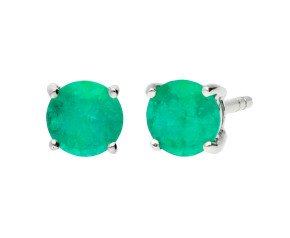 9ct White Gold Round 1.40ct Emerald Solitaire Stud Earrings