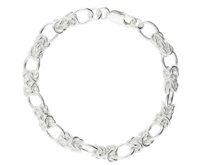7.6mm Silver Fancy Oval Link Bracelet