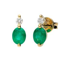 9ct Yellow Gold Emerald & Diamond Drop Earrings
