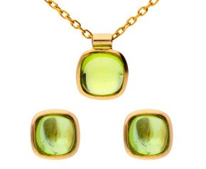 9ct Yellow Gold Peridot Solitaire Earrings & Pendant Jewellery Set