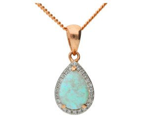 9ct Rose Gold 0.50ct Opal & Diamond Cluster Pendant