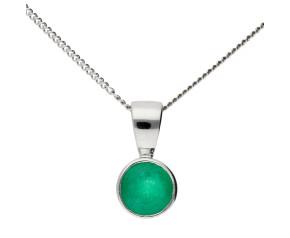 9ct White Gold 0.56ct Emerald Solitare Pendant