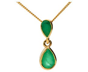 9ct Yellow Gold 0.55ct Emerald double Drop Pendant
