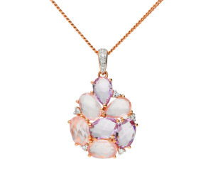 9ct Rose De France And Rose Quartz Cluster Pendant