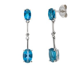 9ct White Gold Topaz & Diamond Drop Earrings