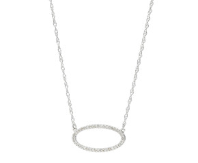9ct White Gold & Diamond Oval Necklace