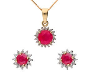 9ct Yellow Gold 1.05ct Ruby & Diamond Cluster Pendant & Earrings Jewellery Set