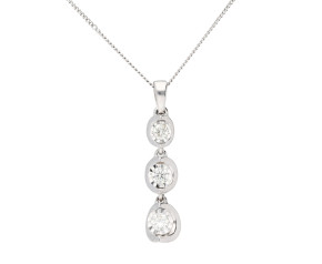 9ct White Gold 0.20ct Diamond Drop Necklace