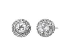 9ct White Gold Colourless Topaz & Diamond Earrings