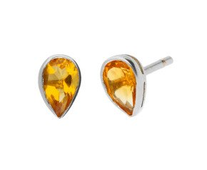 9ct White Gold 0.40ct Pear Citrine Solitaire Stud Earrings