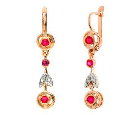 Handcrafted Italian 0.60ct Ruby & Diamond Fancy Drop Earrings