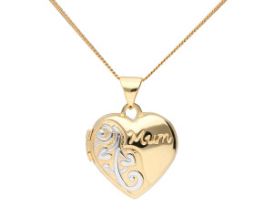 9ct Yellow Gold Mum Heart Locket