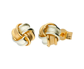 9ct Two Toned Gold Frosted Knot Stud Earrings