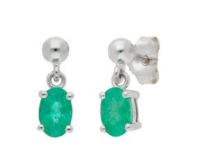 9ct White Gold 0.80ct Emerald Solitaire Drop Earrings