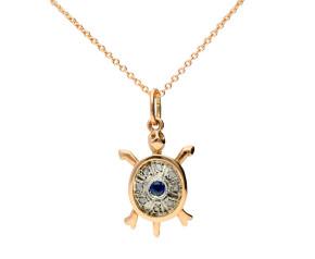 Handcrafted Italian 0.10ct Sapphire & Diamond Tortoise Pendant