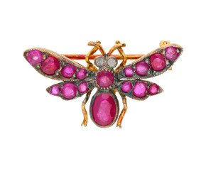 Ruby & Diamond Bee Brooch