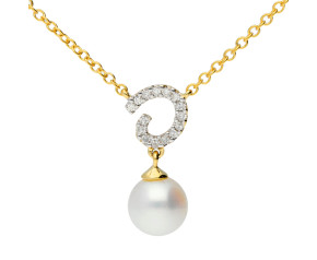 9ct Gold Pearl & Diamond Swirl Necklace