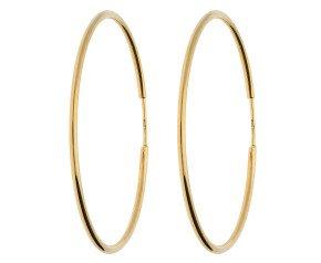 9ct Yellow Gold 40mm Fine Sleeper Hoop Earrings