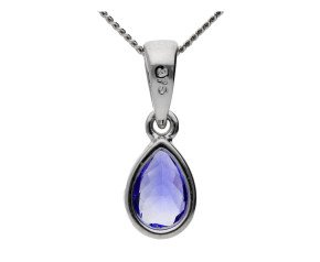 9ct White Gold 0.40ct PearTanzanite Solitaire Pendant