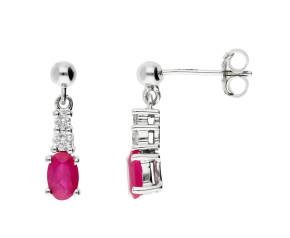 9ct White Gold 2ct Ruby & 0.19ct Diamond Drop Earrings