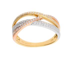 18ct Yellow, Rose & White Gold 0.50ct Diamond Cross-Over Ring