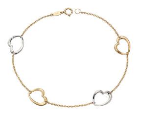 9ct Yellow & White Gold Heart Bracelet