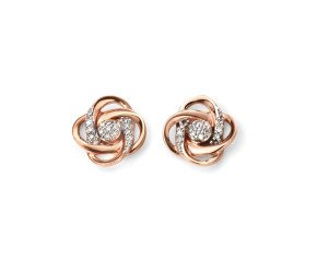 9ct Rose Gold & Diamond Celtic Flower Earrings