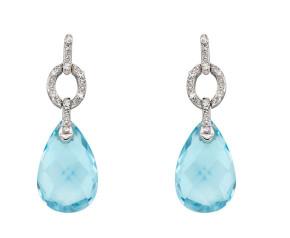 9ct White Gold Topaz & Diamond Drop Earrings