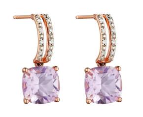 9ct Rose Gold Amethyst & Diamond Drop Earrings