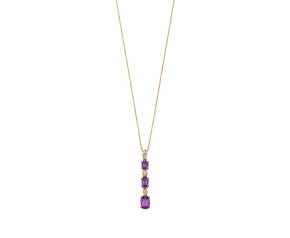9ct Yellow Gold Amethyst & Diamond Graduated Drop Pendant