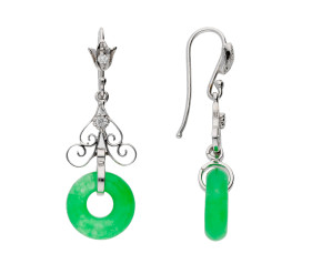 Handcrafted Italian 14ct White Gold Jadeite & Diamond Drop Earrings