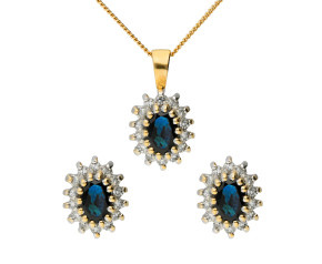 9ct Yellow Gold Sapphire & Diamond Cluster Pendant & Earring Jewellery Set
