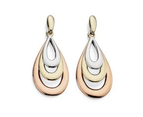 9ct Yellow White & Rose Gold Tear Drop Earrings