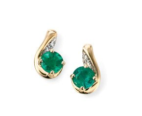 9ct Gold Emerald & Diamond Earrings