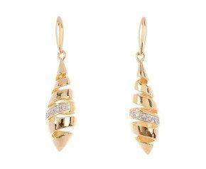 9ct Gold Diamond Spiral Drop Earrings
