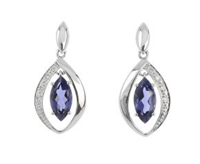 9ct White Gold Iolite & Diamond Drop Earrings